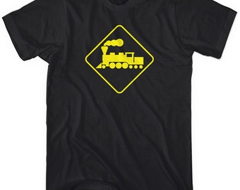 Locomotive Railroad Crossing T-shirt - Men and Kids - XS S M L XL 2x 3x 4x - 4 Colors