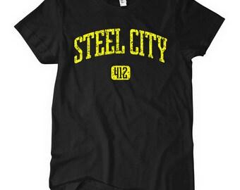 Women's Steel City 412 T-shirt - Pittsburgh - S M L XL 2x - Ladies Pittsburgh Tee - 4 Colors