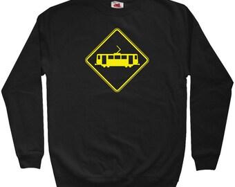Tram Crossing Railroad Sweatshirt - Men S M L XL 2x 3x - Crewneck Railroad Shirt - 3 Colors