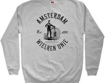 Amsterdam Bicycle Club Sweatshirt - Men S M L XL 2x 3x - Crewneck Amsterdam Shirt - Netherlands, Cycling, Bicycle - 3 Colors