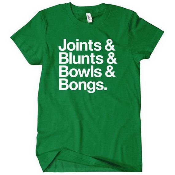 Women's Joints Blunts Bowls Bongs T-shirt - S M L XL 2x - Ladies' Weed Tee - 4 Colors