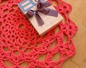Crochet Rug - Coral Pink