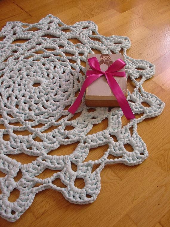 Handmade Crochet Rug - Pastel Blue