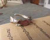 Bird on a Branch: Sterling Silver and Copper Adjustable Ring