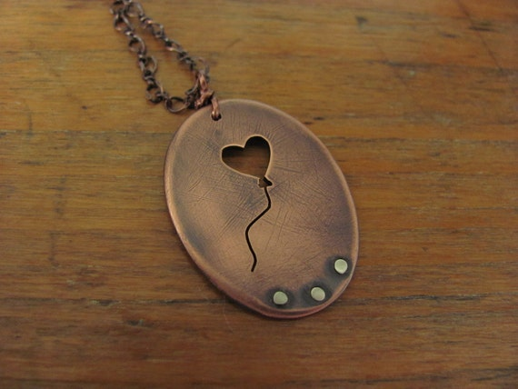 Always Hope - Balloon Heart - Copper and Sterling Silver Pendant Necklace
