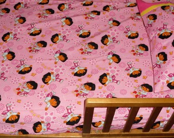 Dora the Explorer Toddler or Crib Fitted Sheet - Pink