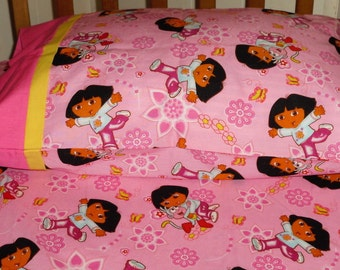 Dora the Explorer Fitted Crib Mattress Sheet and Standard Pillowcase  - Pink Butterflies and Flowers
