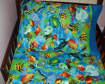 baby bedding  fish sea life ocean blue fitted sheet with standard  pillowcase