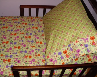 Cats Kitty Baby Toddler Bedding Cats fitted sheet with standard pillowcase pink purple and orange cats on lime green background