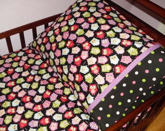Owls Toddler Baby Bedding Fitted Sheet Set pink purple blue and green polka dots
