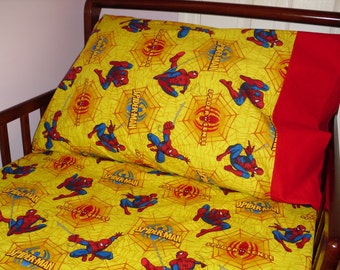 Spiderman Baby/ Toddler Bed Fitted Sheet Set Super Hero Print and Standard Pillowcase Yellow