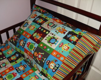 Robots Baby Toddler Bedding Fitted sheet with standard pillowcase set