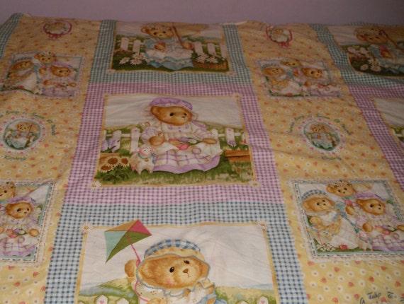vintage fabric teddy bears panel 4 yards