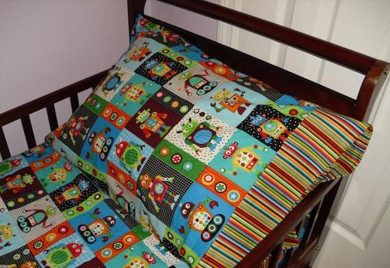 Robot Toddler Bedding Set