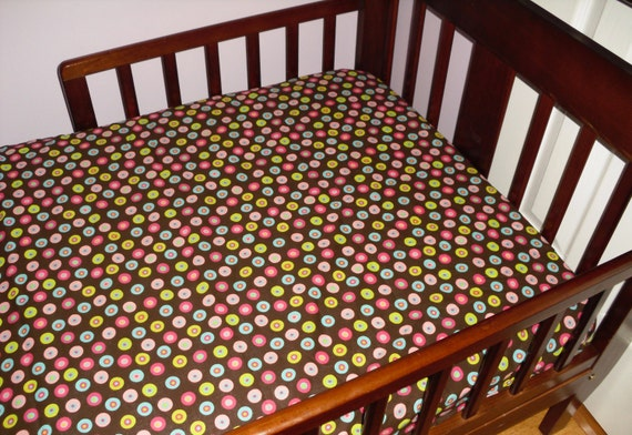 Circles Brown Baby Toddler Bed Fitted Sheet Pink Green Blue Circles