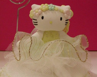 Cat dressed as a ballerina Figurine made out of Cold Porcelain for Birthday Parties or Centerpieces.