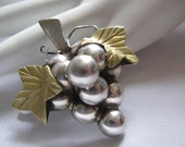 Vintage Mexican Sterling silver grape cluster pin/pendant,Signed