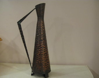 Art Deco Collectible Hand Hammered Modern 41cm.Tall Copper Pitcher,Great Condition