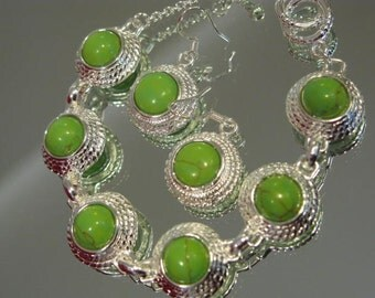 Sterling Silver and Green Turquoise Bracelet & Earring Set