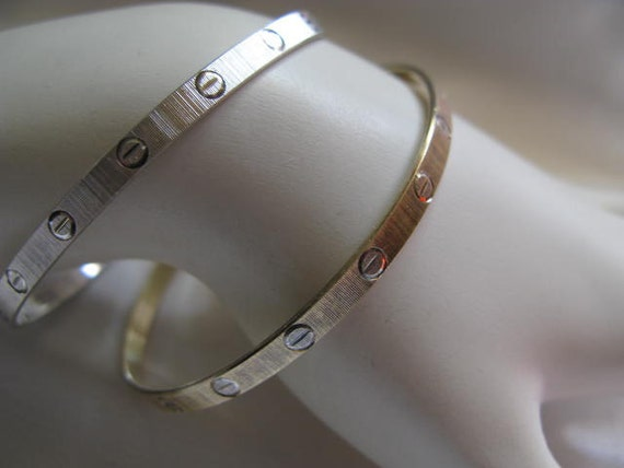 Vintage Italian Sterling signed MILOR, Fancy Cartier Design Love bracelet