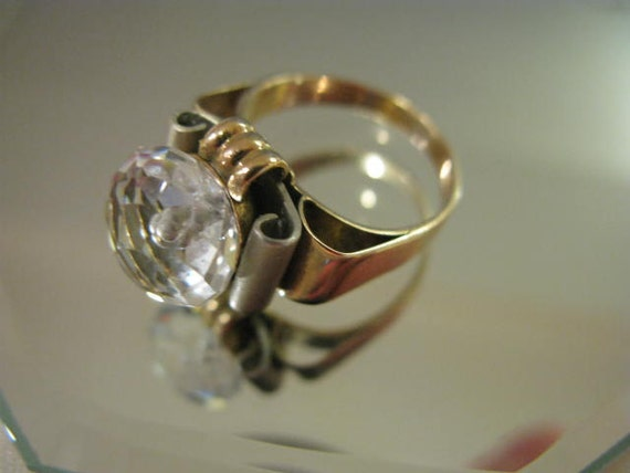 Reduced Antique Hand made 14k.Solid Gold&Rock Crystal Ring FREE SHIPPING