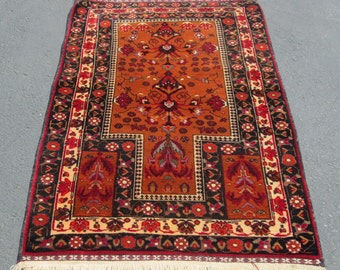 "Fine Afghan Baluch Prayer Oriental  Rug Camel Wool Dyed 2'7"" by 4'1"""