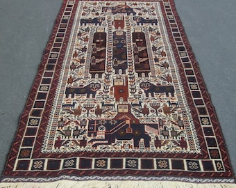 "Beautiful Ivory Brown Tribal Zarkini Hand-Knotted Rug Made in Afghanistan 3'7"" by 6'7"""