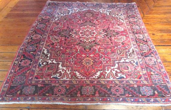 "1960s Persian Heriz Rug Originally Made In Iran 4'8"" by 6'8"""