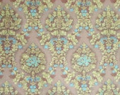 Vintage Fabric-Damask- Milk Chocolate Brown,Chartreuse and Turquoise-Upholstery/Curtain Fabric