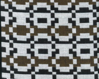 Vintage Fabric-Geometric-Black, Chocolate Brown and White-Woven Cotton