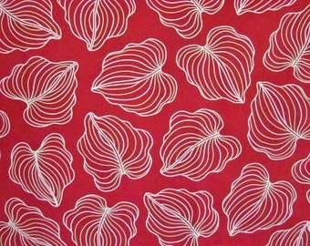 Upholstery Fabric-Scarlet Red with oversized Leaves in Straw Yellow and Light Green