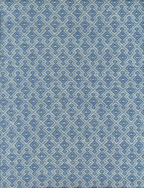 Vintage Upholstery Fabric- Blue and White-Diamond Pattern-Woven