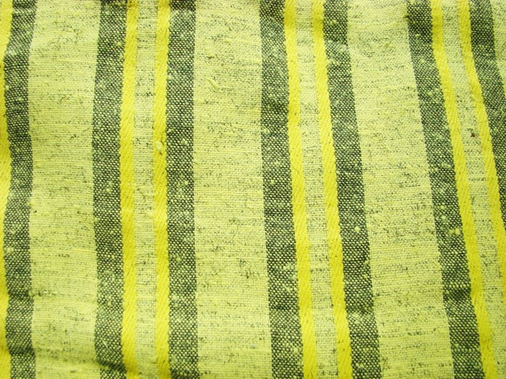Vintage Fabric- Yellow and Black Stripes-Woven-1980s
