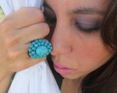 Gypsy Boho Adjustable Turquoise Ring- FREE  Silk Jewelry Pouch ( or gift wrap) and  messaging