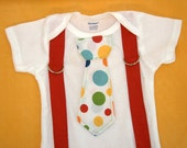 Polka Dot Circus Suspender Tie Onesie or Tshirt - Great for a Circus Birthday Party!