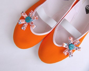 Orange power /ballet flats shoes spring summer tangerine blue teal turquoise bright jarmilki wedding woman bride poletsy fashion gift