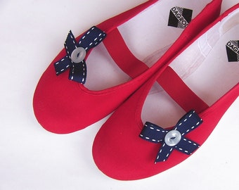 Sailors reminescence /ballet flats red shoes spring summer blue navy jarmilki wedding woman bride poletsy fashion bow romantic elegant bows