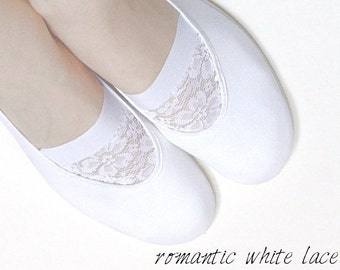 white LACE /ballet flats shoes autumn winter snow crystal wedding woman bride poletsy fashion gift romantic elegant bright beige creamy pure