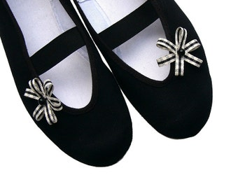 my little black / white dark snow star ballet flats shoes autumn winter mary janes bow stripes woman bride poletsy fashion gift romantic may