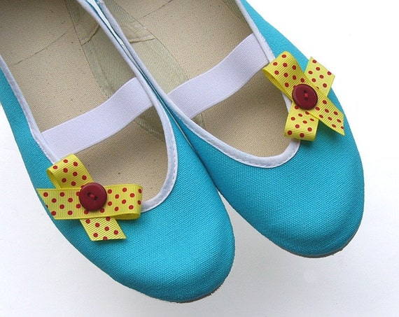 Yellow bow /ballet flats turquoise blue retro shoes spring summer mary janes bow polka dot red woman bride poletsy fashion gift romantic