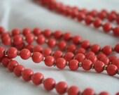 Vintage Coral Color Sweater Flapper Necklace