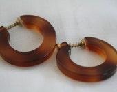 Vintage Lucite Faux Tourtoise Hook Earrings