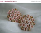 SALE Vintage Pink Flower Earrings Coro