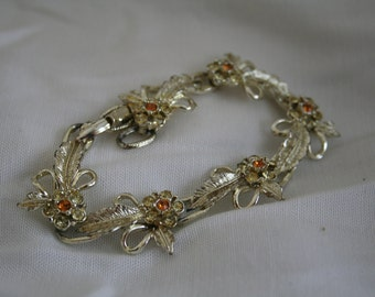 Vintage Gold Tone and Orange Rhinestone Bracelet