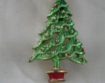Shabby Chic VIntage Christmas Tree Brooch