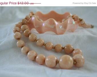 Vintage Peach Plastic Necklace and Bracelet