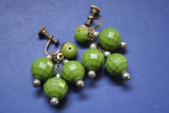 Olive Drab Green Beaded Earrings