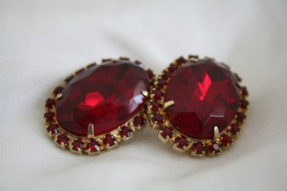 Ruby Red Rhinestone Clip Earrings