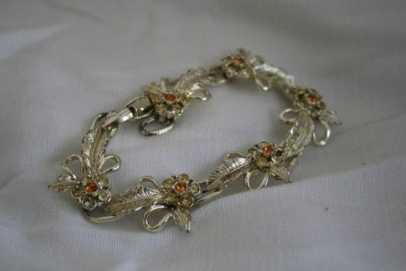 Vintage Gold Tone and Orange Rhinestone Bracelet