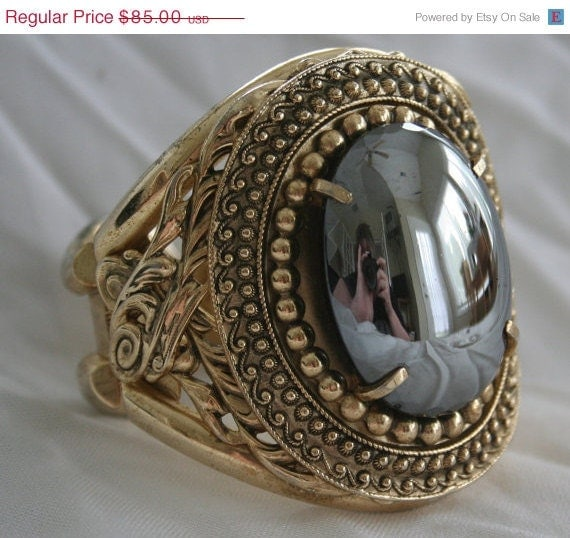 SALE Whiting and Davis Faux Hematite Clamper Bracelet